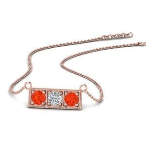3 Stone Orange Topaz Bar Necklace