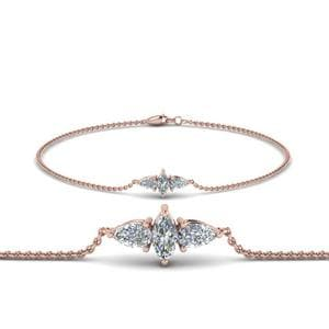 3 Stone Bracelet For Mom In 14K Rose Gold