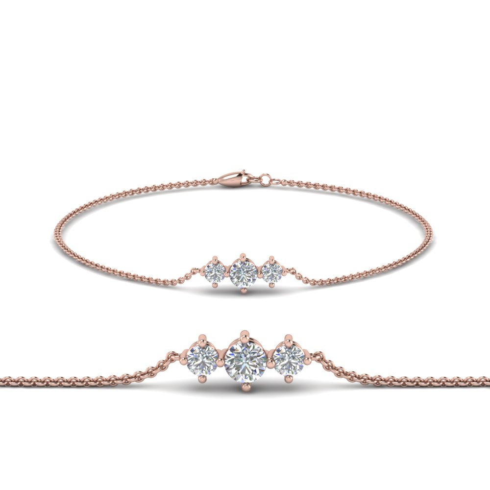3 Stone Bracelet For Mothers In 18K Rose Gold