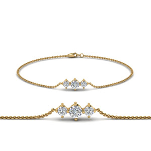 3 Stone Bracelet For Mothers In 14K Yellow Gold