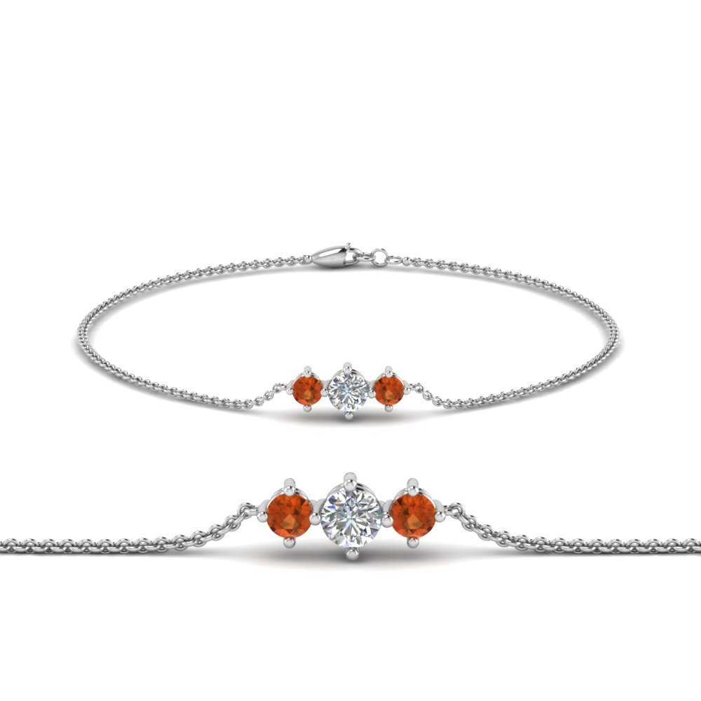 3 Stone Bracelet For Mothers With Orange Sapphire In 14K White Gold
