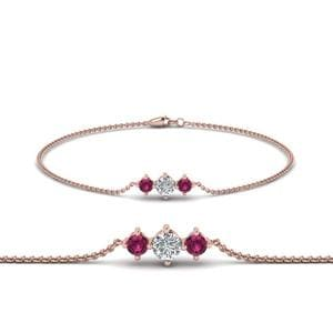 3 Stone Bracelet For Mothers With Pink Sapphire In 14K Rose Gold