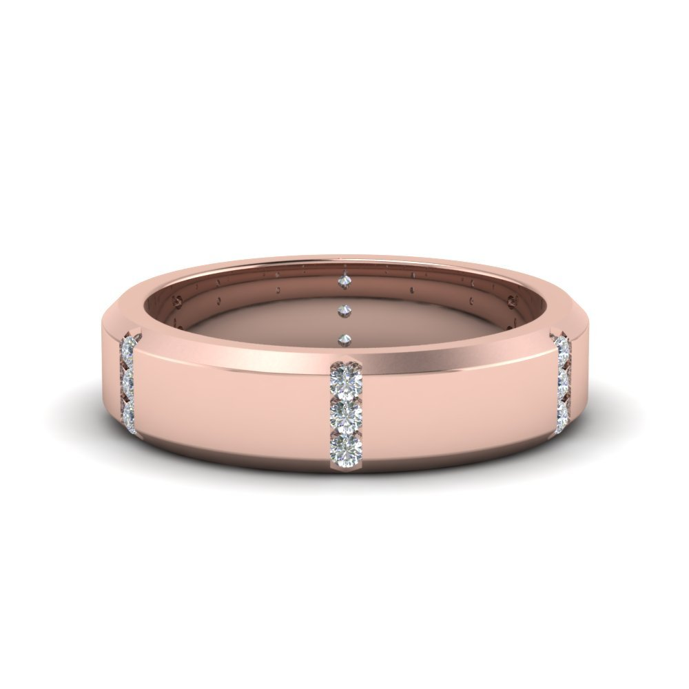 3 Stone Channel Women Anniversary Band In 14K Rose Gold