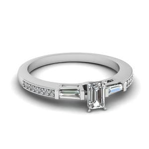 3 Stone Diamond Ring Sale With Baguette In 14K White Gold
