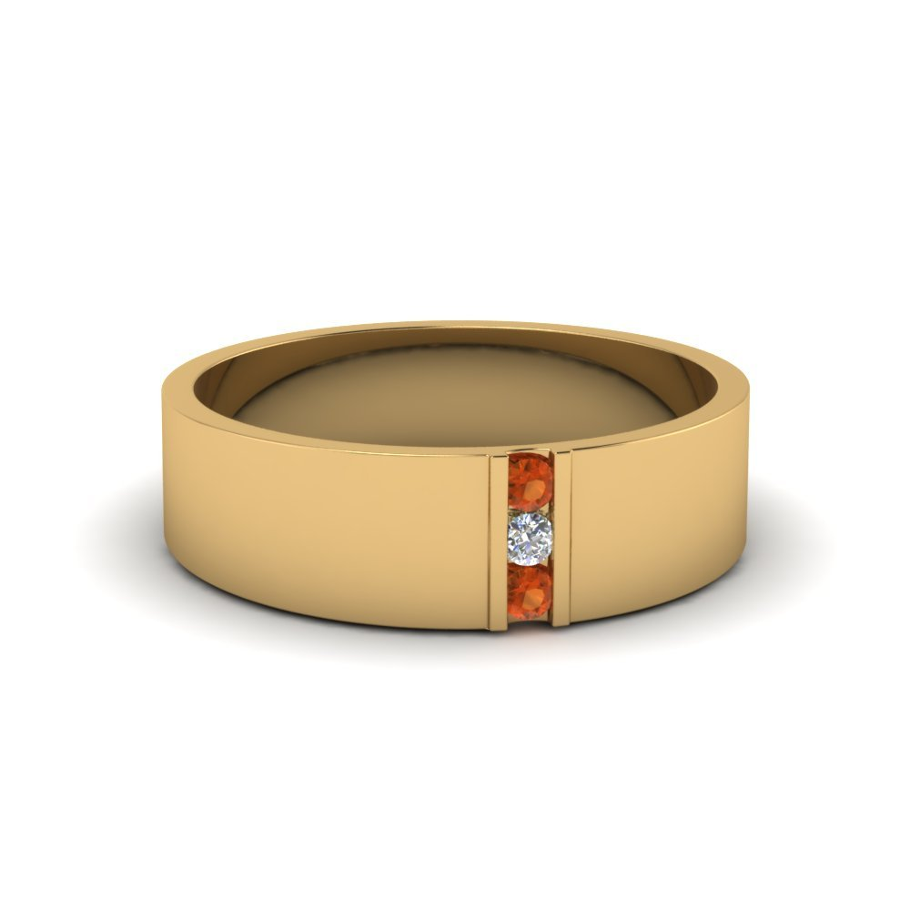Orange Sapphire Band For Men