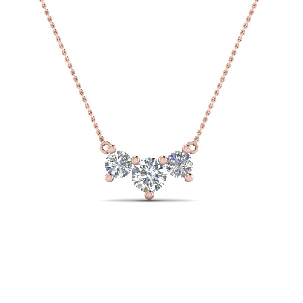 3 Stone Rose Gold Diamond Necklace