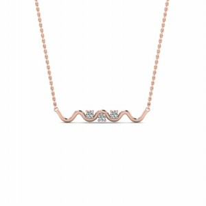 3 Stone Mothers Pendant Necklace In 18K Rose Gold