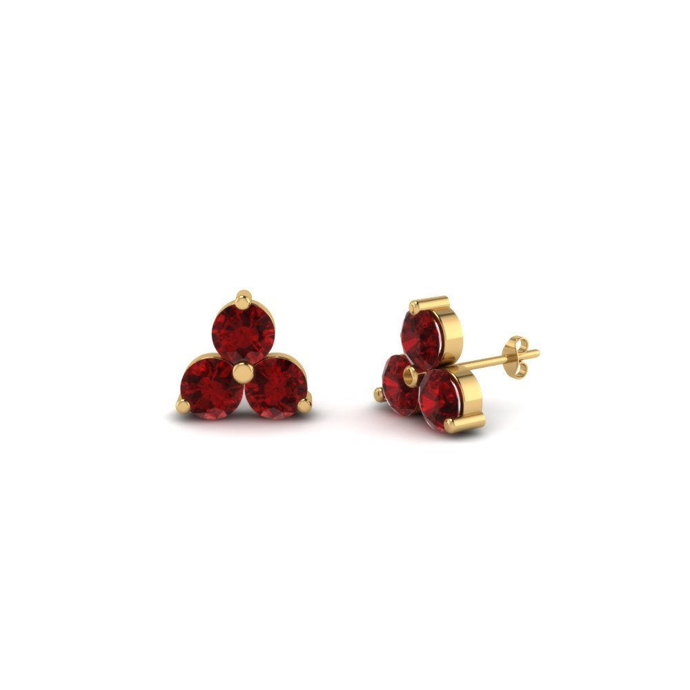 3 Stone Small Stud Ruby Earring