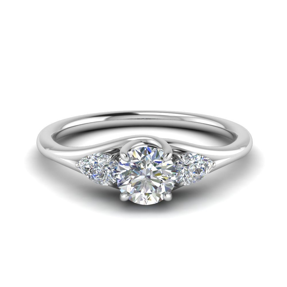 3 Stone Trellis Engagement Ring In 14K White Gold