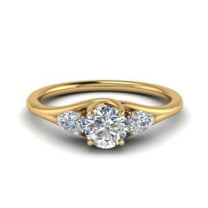 3 Stone Trellis Engagement Ring In 14K Yellow Gold