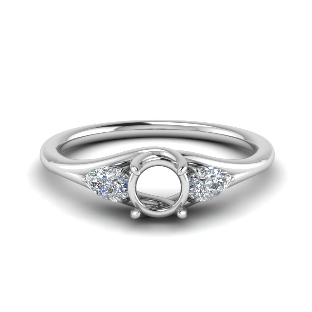 3 Stone Trellis Engagement Ring In 950 Platinum