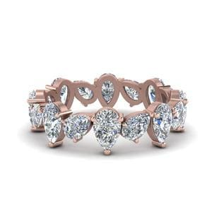 3.20 Ct. Pear Shaped Diamond Eternity Band In 14K Rose Gold