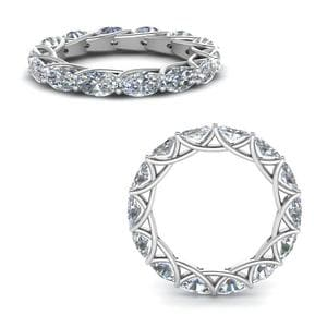 3.50 Ct. Oval Shaped Diamond Trellis Eternity Ring In 14K White Gold