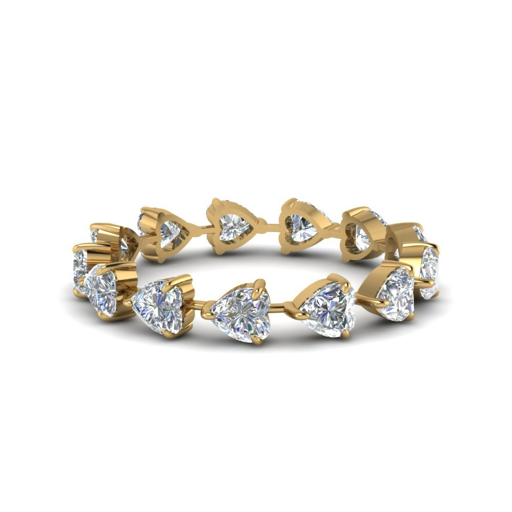 4 Carat Heart Eternity Anniversary Band In 14K Yellow Gold