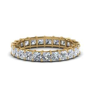 4 Carat Princess Cut Diamond Eternity Ring In 14K Yellow Gold