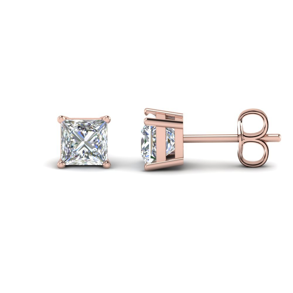 4 Karat Princess Cut Stud Earring