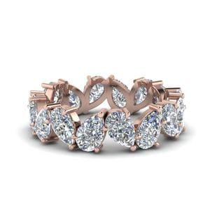 4 Ct. Pear Shaped Diamond Eternity Band In 14K Rose Gold