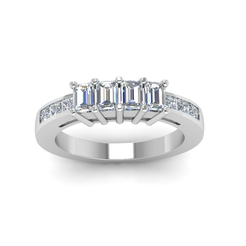 4 Emerald Cut Diamond Accents Stone Band
