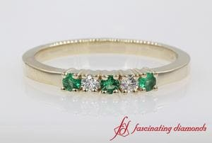 5 Stone Diamond With Emerald Band