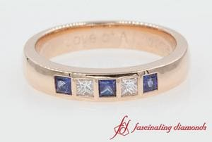 5 Stone Flush Set Sapphire Band For Men In Rose Gold