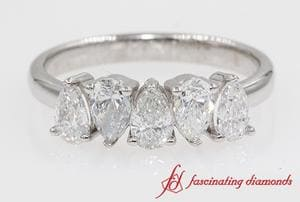 5 Stone Pear Diamond Wedding Band In White Gold
