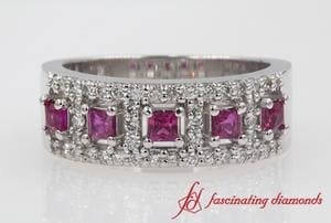 5 Stone Pink Sapphire Halo Wedding Band In White Gold
