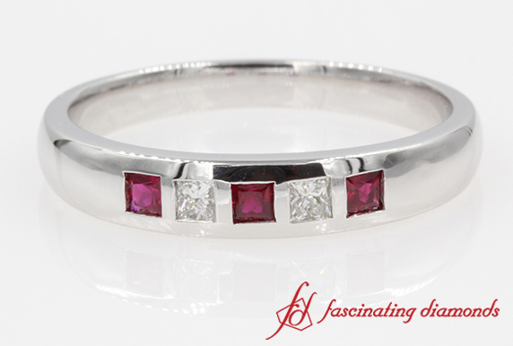 5 Stone Princess Cut Diamond Band