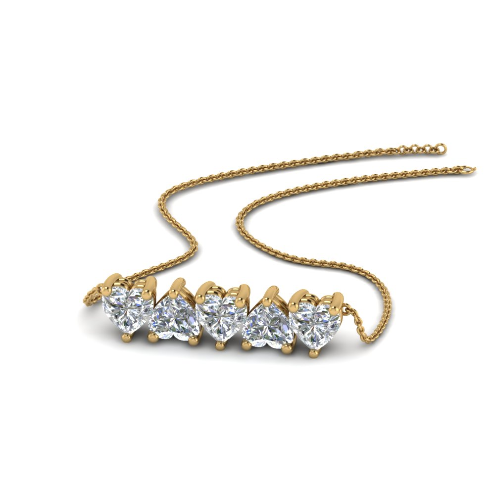 5 Heart Horizontal Diamond Necklace