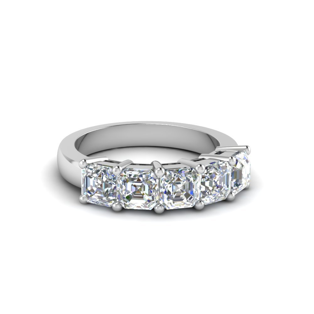 5 Stone Asscher Diamond Anniversary Band One Carat In 14K White Gold