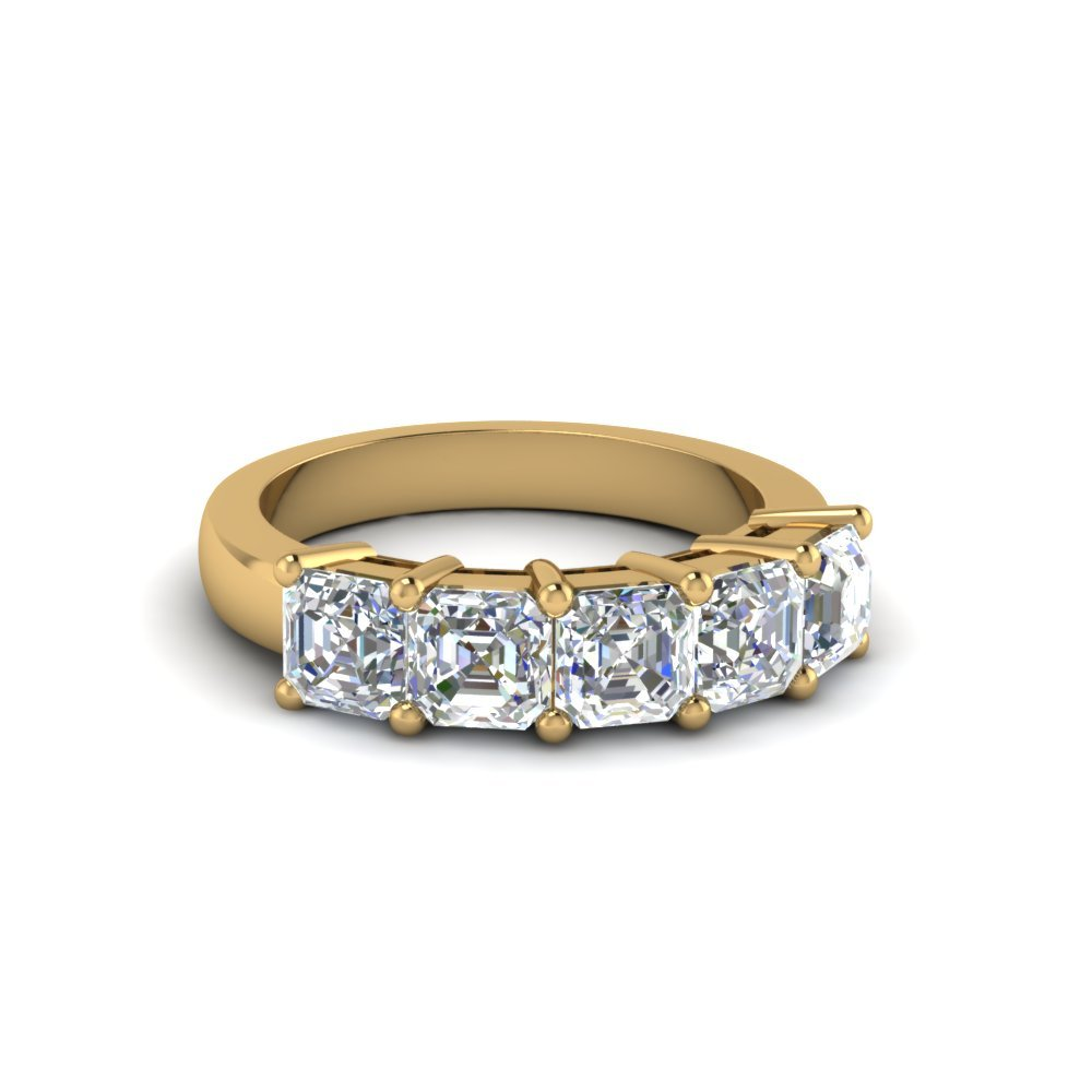 5 Stone Asscher Diamond Anniversary Band One Carat In 14K Yellow Gold