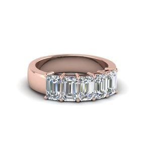 5 Stone Emerald Cut Diamond Anniversary Band(1Ct.) In 14K Rose Gold