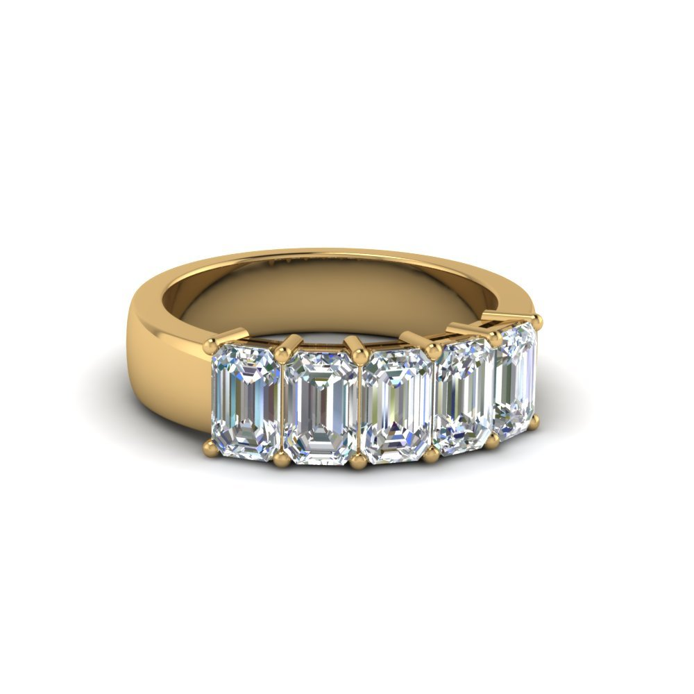 5 Stone Emerald Cut Diamond Anniversary Band(1Ct.) In 18K Yellow Gold