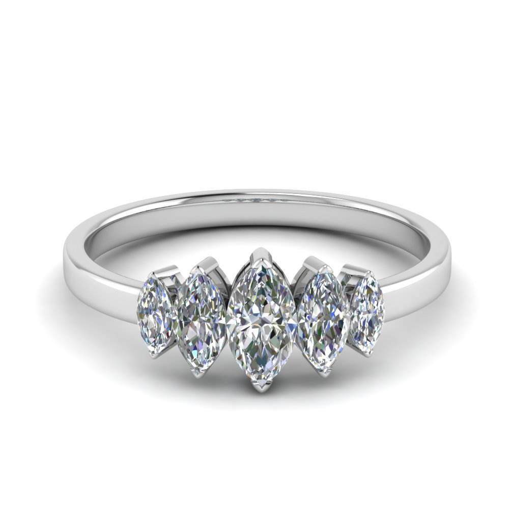 1 ct. Marquise Cut 5 Stone Ring