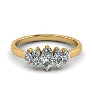 5 Stone Marquise Anniversary Ring 1 Carat In 14K Yellow Gold