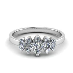 1.50 Ct. Marquise 5 Stone Wedding Band