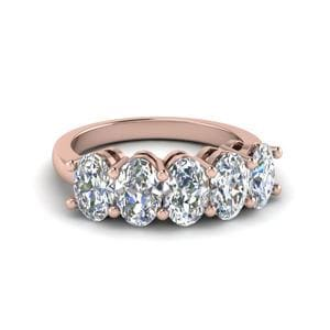 5 Stone Oval Wedding Band 2 Carat In 14K Rose Gold