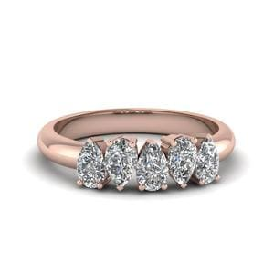5 Stone Pear Shaped Diamond Band In 14K Rose Gold