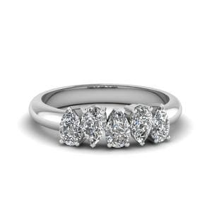 Platinum 5 Stone Pear Diamond Band