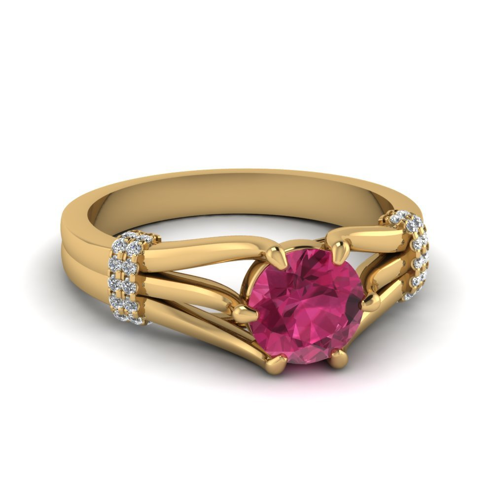 6 Prong Split pink Sapphire Ring