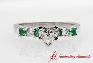 7 Stone Heart Engagement Ring