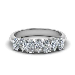 14K White Gold Pear Diamond Band