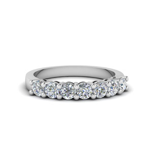 7 Stone Anniversary Diamond Band In 14K White Gold