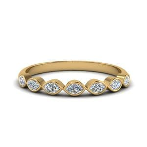7 Stone Marquise Wedding Band In 14K Yellow Gold