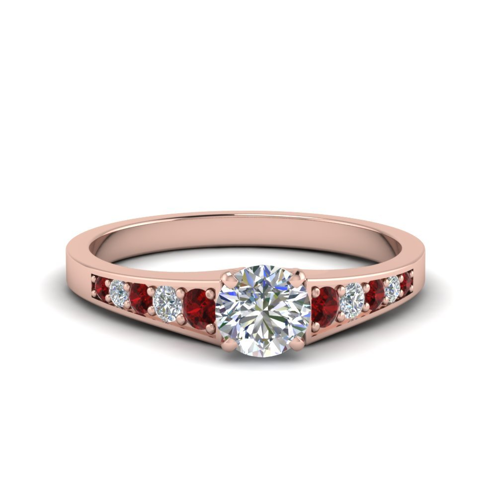 075 ct round cut pave set diamond engagement ring with