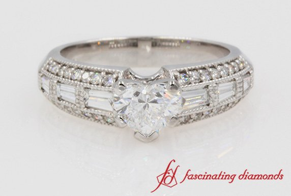 Antique Baguette With Heart Cut Diamond Ring In White Gold
