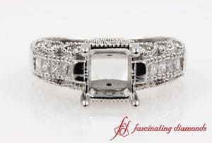 Antique Engagement Ring Setting In White Gold