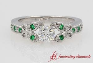 Round Diamond With Emerald Butterfly Ring