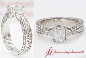 Antique Trillion & Emerald Cut Ring