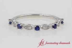 Art Deco Diamond Wedding Band With Sapphire In White Gold