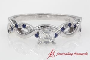 Asccher Cut Infinity Diamond Ring With Sapphire In White Gold